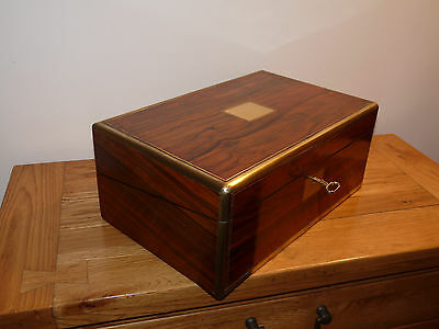 Antique Victorian Rosewood Writing Slope - Box - With Inkwells & Hidden Area