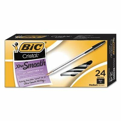 Bic Cristal Xtra Smooth Ballpoint Pen, Black Ink, 1mm, Medium, 24/Pack 19715