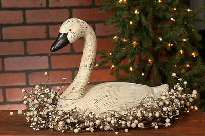 New Large White GOOSE Duck Swan Decoy French Country Primitive Figurine Resin