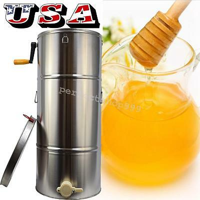 USA New Two 2 Frame Stainless Steel Bee Honey Extractor SS Honeycomb Drum HOT