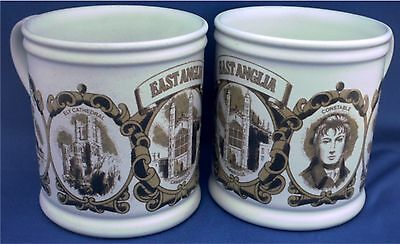 2 Denby Mug Featuring East Anglia. Cambridge, Ely, Constable, Norfolk Wherry
