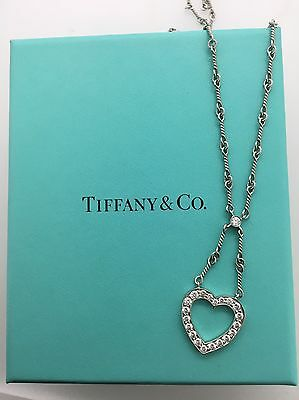 Authentic Tiffany & Co. Diamond Heart & Platinum Necklace!! - Collection #10197