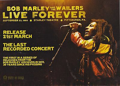 BOB MARLEY AND THE WAILERS Live Forever - Music Press Advert A5 Laminated