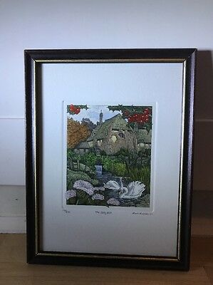 Charming Limited Edition Etching Of Swans By Rob Roberts In Wood Frame