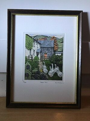 Charming Limited Edition Etching Of Geese By Rob Roberts In Wood Frame