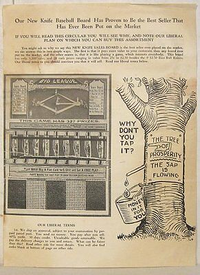 Vintage flyer for Knife Baseball salesboard game