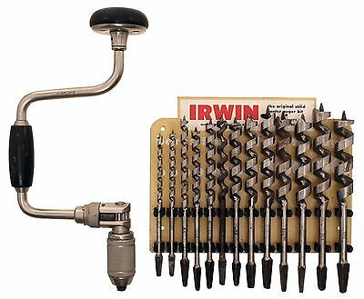 Set of Ohio Tool Company Auger Bits in Irwin Display-One Replaced - 945-10 Brace