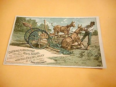 Vintage Hats, Shoes Jacob Reed's Sons Philadelphia Victorian Trade Card - donkey