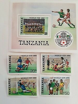 Tanzania Stamps Commemorating The World Cup Mexico 86 .