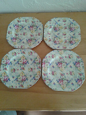 "Stunning Lord Nelson ""rose Time"" 6 1/2"" Square Plates"