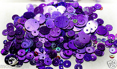10g of metallic purple coloured sequins all shapes sizes and colours