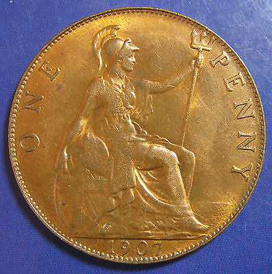 1907 1d Edward VII bronze Penny: aUNC with a very attractive lustre