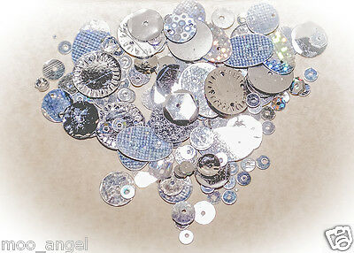 10g of metallic silver coloured sequins all shapes sizes and colours