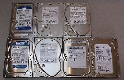 Lot of 7 Desktop 500GB Hard Drives, wiped and tested