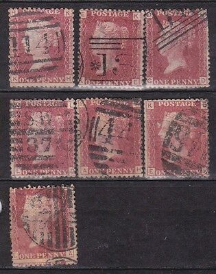GB QV 1d Red (SG43/44), Various Plate Numbers, Used