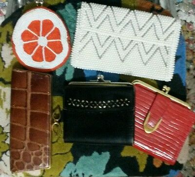 vtg LOT 50s Leather Wallet Coin Purse Croc Eyewear Case Beaded Pearls Pouch