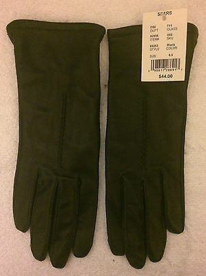 Womens FOWNES Black Genuine Leather Winter Gloves Fleece Lined Sz 6.5  *NEW NWT*