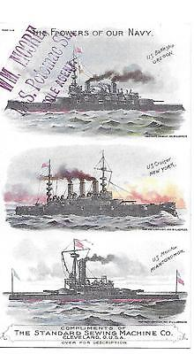 1892 Standard Sewing Machine Victorian  Trade Card Military Us Navy Ships