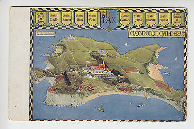 Pembrokeshire: Catholic Caldey - Art Map View of Island - PC (729)