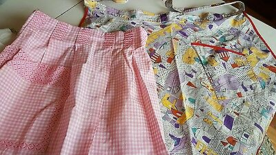 Vintage Aprons 1950s Print Red Trim Pink White Checkered