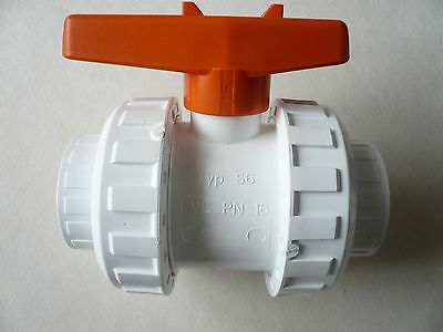 "DN 40 mm - 1 1/2"" d50 PVC UNION BALL VALVE - PN 16 - Typ S6 - UNUSED OLD STOCK ."