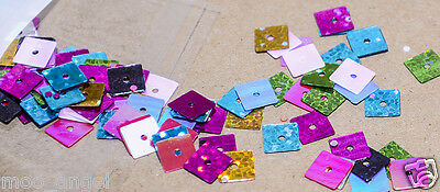 10g mixed coloured square sequins multo hologram shiney 4 mm approx