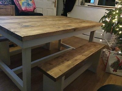 Hand made wooden farm house style dining table and bench
