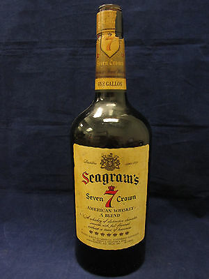 Vintage Seagrams Seven 7 Crown One 1 Gallon Whiskey Amber Bottle