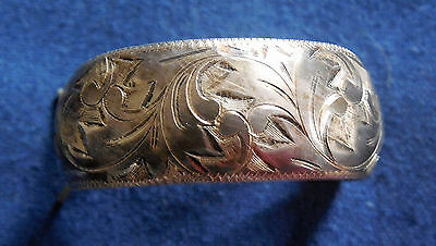 ARTISAN 950 STERLING Silver Engraved Domed Ladys PONYTAIL HAIR CLIP