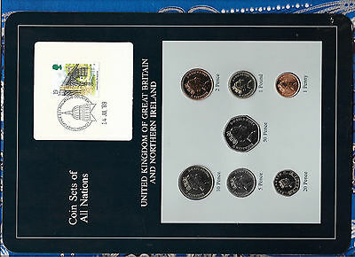 Coin Sets of All Nations Great Britain 1986-1989 UNC 1 pound, 2,20,50 pence 1989