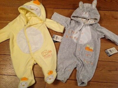 BNWT 2 Easter baby rabbit and chick hooded pramsuits 0-3 months