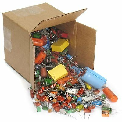 5 Pound Box of Capacitors of Various Values, Styles, Sizes and Brands