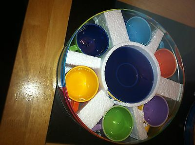 Set of 6 Pagnossin Treviso espresso coffee cups & saucers Harlequin colours BNIB