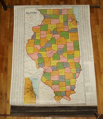 Rare Vintage 1939 State of Illinois Pull Down School Map...Old Ghost Towns