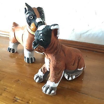 RARE Ceramic Vintage Maguz Puppy Dog Boxer Art Of Stone, Pot, Collectable S.N