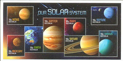 Australia-Our Solar System min sheet mnh min sheet-Space - planets 2015 issue