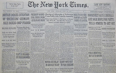 4-1939 WWII April 20 BRITAIN DENIES INTENTION OF ENCIRCLING GERMANY; DANZIG COUP