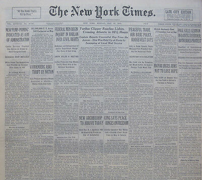 5-1939 WWII May 22 POLE KILLS GERMAN IN DANZIG DISORDER; BOTH SIDES PROTEST