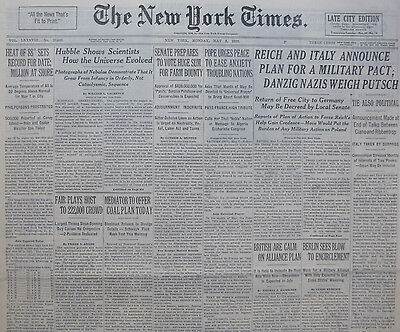 5-1939 WWII May 8 REICH & ITALY ACCOUNCE PLAN FOR MILITARY PACT; DANZIG GERMANS