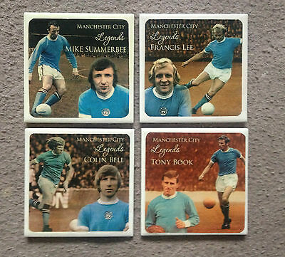 Great set of four Manchester City 'Legends' ceramic coasters, Lee, Bell, Book