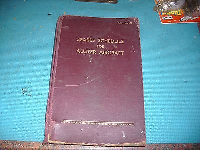 Spares Schedule For Auster  Aircraft 1952
