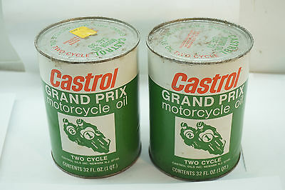 Vintage Castrol Oil Grand Prix Motorcycle Oil Two Cycle Lot 2 Quart Can Usa