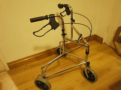 NRS Indoor / Outdoor Tri Walker, Walking Aid 3 Wheel Mobility Rollator -  chrome