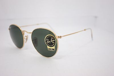 Ray-Ban RB3447 Round Metal 001 Gold Frame/ Green Classic G-15 Lens  50mm New