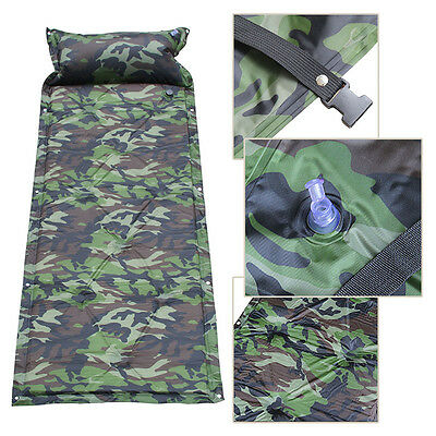 Camouflage Waterproof Inflat Camp Roll Mat Pad Pillow Bed Sleeping Mattress +Bag