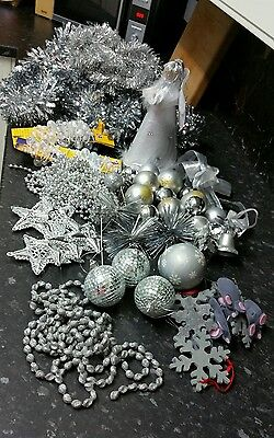 Large bundle of silver Christmas decorations