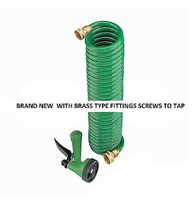 25 foot coil hose with brass fittings bargain