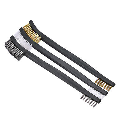 3x Mini Wire Brush Set Brass Nylon Stainless Bristle Cleaning Tool Cleaner TB