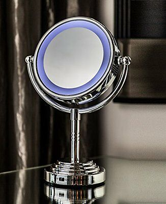 LIGHTED Makeup LED Cosmetic Mirror Vanity Double Sided Compact Stand Magnifying