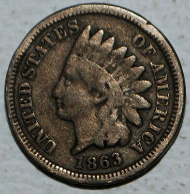 1863 Indian Head Penny One Cent Coin 1c US